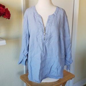 Ellen Tracy Linen Blue Shirt